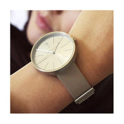 Minimalist Women's Watch - Silver & Grey Leather - Contemporary Modern - Newgate New York WWMDLNRS050LGY (wristwear)