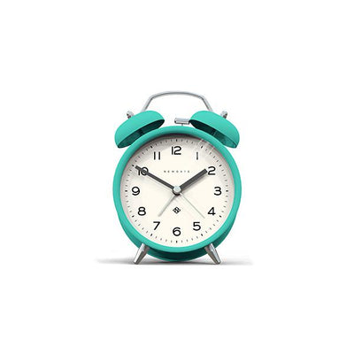 Modern Alarm Clock - Bright Colour Turquoise Blue - Silent 'No Tick' - Newgate Echo CBM134AM