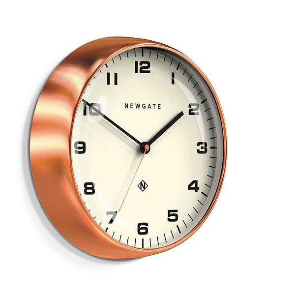 Modern Copper Wall Clock - Silent 'No Tick' - Newgate Chrysler WAT406RAC (skew)