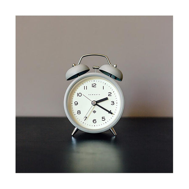 Modern Grey Alarm Clock - Silent 'No Tick' - Newgate Echo CBM134PGY (room decor)