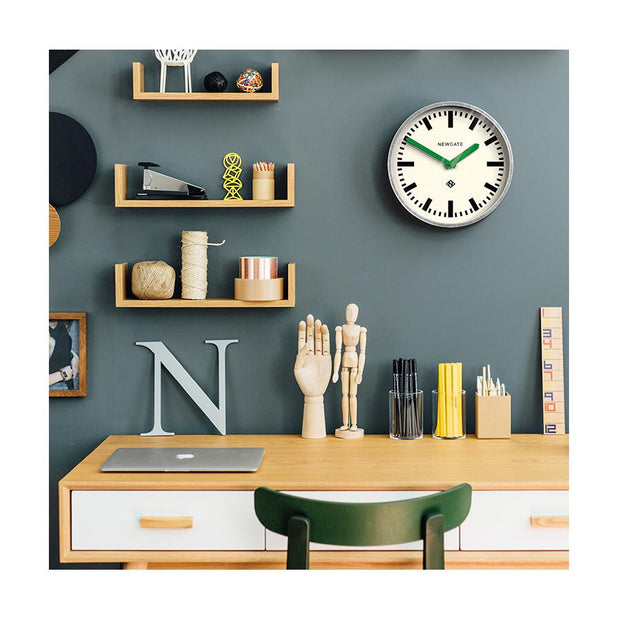 Modern Industrial Wall Clock - Galvanized Metal - Green Hands - Newgate LUGG667GALVG HOMEWARE