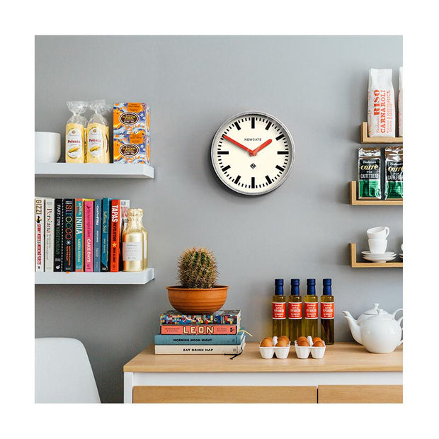 Modern Industrial Wall Clock - Galvanized Metal - Red Hands - Newgate LUGG667GALR - INTERIOR
