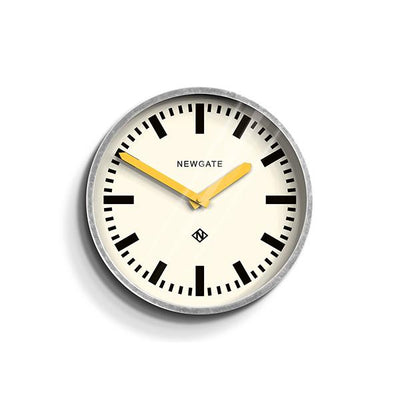 Modern Industrial Wall Clock - Galvanized Metal - Yellow Hands - Newgate LUGG667GALCY
