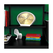 Modern Mantel Clock - Contemporary White Gold - Newgate Space Cowboy MAN-SCOW709PW style