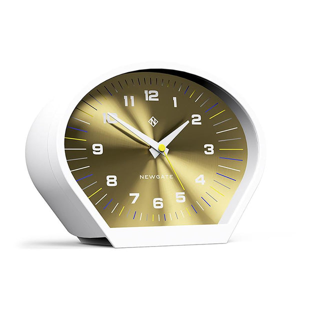 Modern Mantel Clock - Contemporary White Gold - Newgate Space Cowboy MAN-SCOW709PW skew