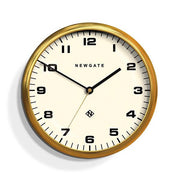 Modern Metal Wall Clock - Gold Brass - Silent 'No Tick' - Newgate Chrysler WAT406RAB (front)