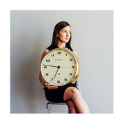 Modern Metal Wall Clock - Gold Brass - Silent 'No Tick' - Newgate Chrysler WAT406RAB (lifestyle) 1 copy