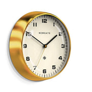 Modern Metal Wall Clock - Gold Brass - Silent 'No Tick' - Newgate Chrysler WAT406RAB (skew)
