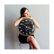 Modern Metal Wall Clock - Gold Brass Black Dial - Silent 'No Tick' - Newgate Chrysler WAT407RAB (lifestyle) 1 copy