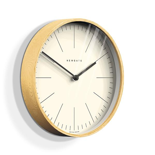 Modern Minimalist Wall Clock - Large Scandi Plywood - Newgate Mr Clarke MRC160PLY40 (skew)