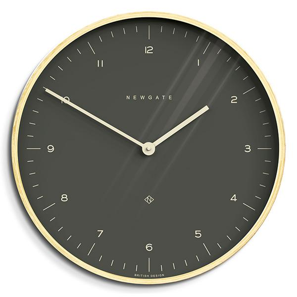Modern Scandi Wall Clock - Large Minimalist - Plywood & Dark Grey - Newgate Mr Clarke MRC130PLY53