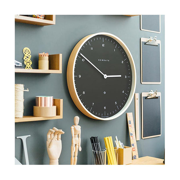 Modern Scandi Wall Clock - Large Minimalist - Plywood & Dark Grey - Newgate Mr Clarke MRC130PLY53 (homeware) 1 copy