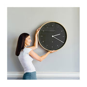 Modern Scandi Wall Clock - Large Minimalist - Plywood & Dark Grey - Newgate Mr Clarke MRC130PLY53 (lifestyle) 1 copy