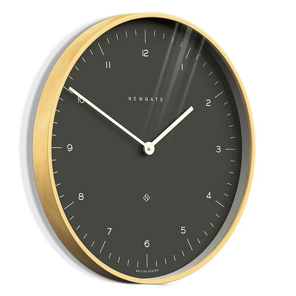 Modern Scandi Wall Clock - Large Minimalist - Plywood & Dark Grey - Newgate Mr Clarke MRC130PLY53 (skew)