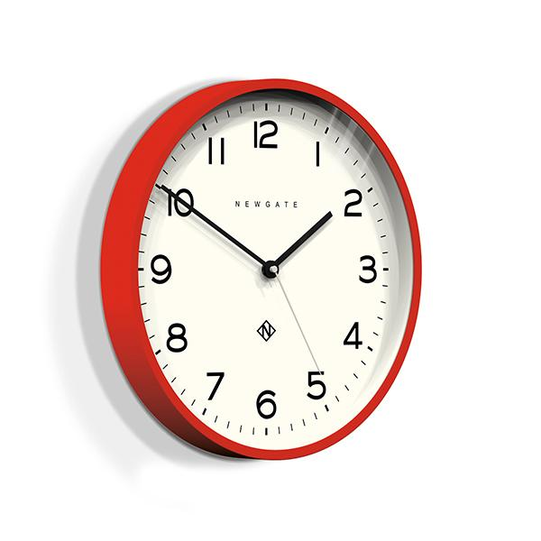 Modern Wall Clock - Bright Colour Red - Newgate Echo NUMTHR129FER (skew)