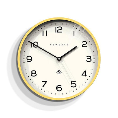 Modern Wall Clock - Bright Colour Yellow - Newgate Echo NUMTHR129CHY