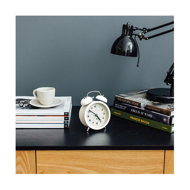 Modern White Alarm Clock - Silent 'No Tick' - Newgate Echo CBM134PW (homeware)