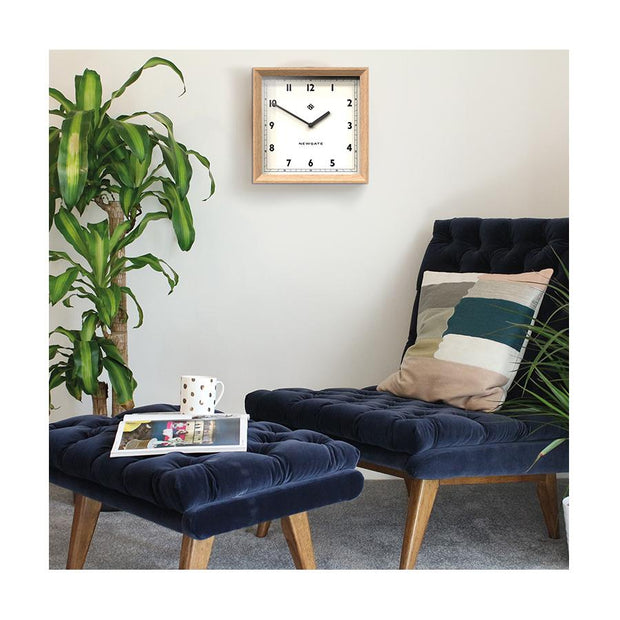 Modern Wood Wall Clock - Oak Square - Newgate Old Joe OLDJ638LO (Interior)