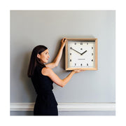 Modern Wood Wall Clock - Oak Square - Newgate Old Joe OLDJ638LO (lifestyle)
