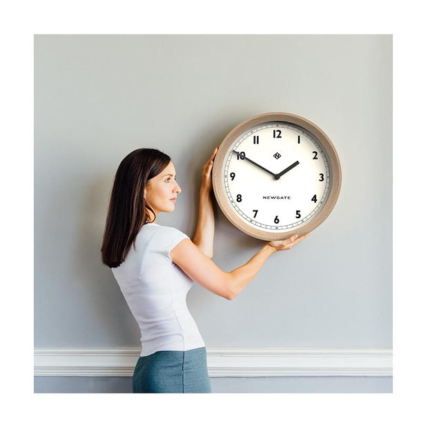 Modern Wood Wall Clock - Solid Light Oak - Newgate General GEN648LO (homeware)