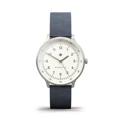 Navy Blue Leather Watch - Everyday Casual - Men's Women's - British Design - Newgate Blip WWMBLPVS056NGBL (front)
