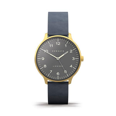 Navy Blue Leather Watch - Men's Women's - British Design - Newgate Blip WWMBLPVB053NGBL (front)