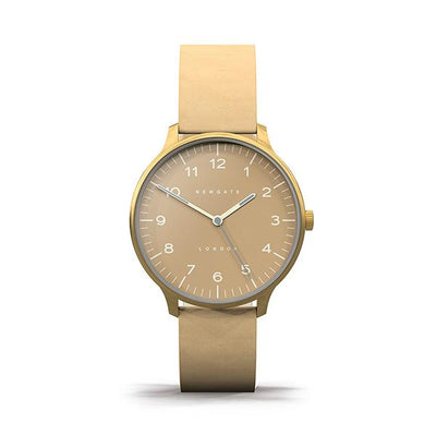 Nude Leather Watch - Men's Women's - British Design - Newgate Blip WWMBLPVB054LS (front)