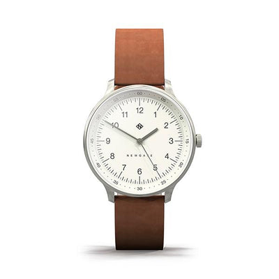 Tan Brown Leather Watch - Everyday Casual - Men's Women's - British Design - Newgate Blip WWMBLPVS056LT (front)
