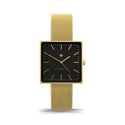 Minimalist Square Face Watch - Gold Milanese Mesh - Men's Women's Smart Dress - Newgate Cubeline WWMCLNBB044MVB (front)