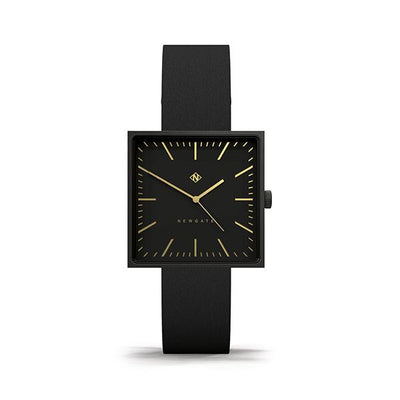 Black-on-Black Square Face Watch - Leather - Men's Women's Smart Dress - Newgate Cubeline WWMCLNBK044LK (front)
