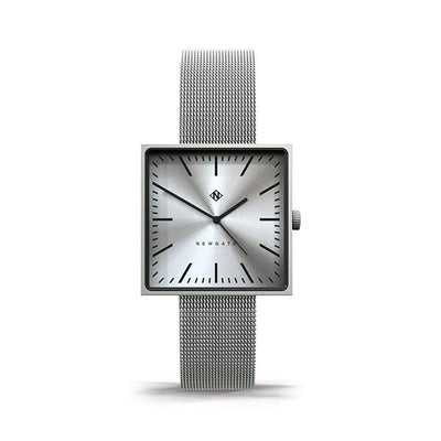Minimalist Square Face Watch - Silver Milanese Mesh - Men's Women's Smart Dress - Newgate Cubeline WWMCLNBS046MVS (front)