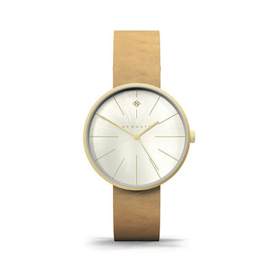Minimalist Women's Watch - Gold & Tan Leather - Contemporary Modern - British Design - Newgate New York WWMDLNRG052LT (front)