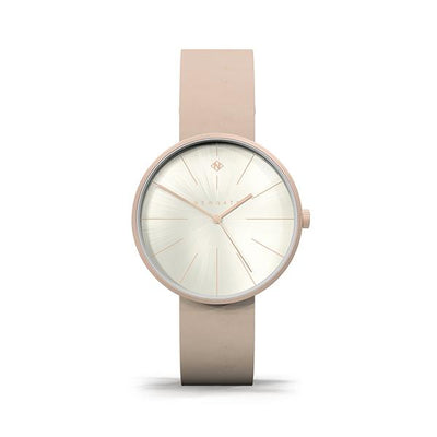 Minimalist Women's Watch - Rose Gold & Nude Pink Leather - Contemporary Modern - Newgate New York WWMDLNRR051LPK (front)
