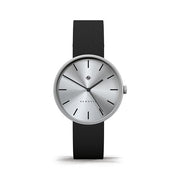 Minimalist Black Leather Watch - Silver Steel Dial - Modern Contemporary Men's Women's - Newgate Drumline WWMDLNRS041LK (front)