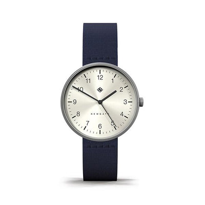 Minimalist Men's Women's Watch - Navy Blue Canvas - Stainless Steel - Modern Contemporary - Newgate Drumline WWMDLNRS042CBL (front)