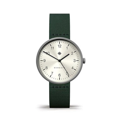 Minimalist Men's Women's Watch - Green Canvas - Stainless Steel - Modern Contemporary - Newgate Drumline WWMDLNRS042CG (front)