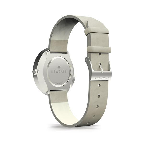 Minimalist Women's Watch - Silver & Grey Leather - Contemporary Modern - Newgate New York WWMDLNRS050LGY (back)