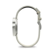 Minimalist Women's Watch - Silver & Grey Leather - Contemporary Modern - Newgate New York WWMDLNRS050LGY (side)