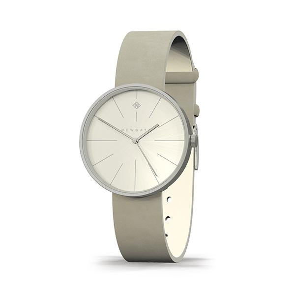 Minimalist Women's Watch - Silver & Grey Leather - Contemporary Modern - Newgate New York WWMDLNRS050LGY (skew)