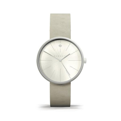 Minimalist Women's Watch - Silver & Grey Leather - Contemporary Modern - Newgate New York WWMDLNRS050LGY (front)
