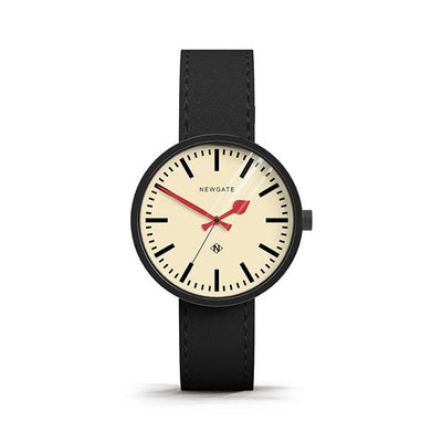 Modern Black Leather Watch - Minimalist Marker Dial - Contemporary Men's Women's - British Design - Newgate Drummer WWMDRMK006LK (front)