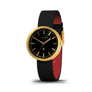 Minimalist Black Gold Watch - Modern Leather - Contemporary Men's Women's - British Design - Newgate Drummer WWMDRMRB031LK (skew)