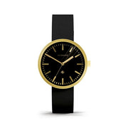 Minimalist Black Gold Watch - Modern Leather - Contemporary Men's Women's - British Design - Newgate Drummer WWMDRMRB031LK (front)