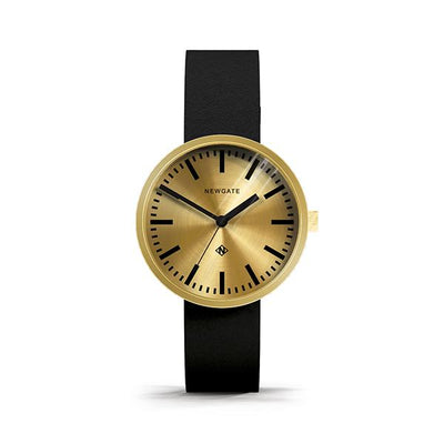 Minimalist Gold Brass Watch - Black Leather - Contemporary Men's Women's - British Design - Newgate Drummer WWMDRMRB032LK (front)