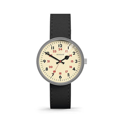 Minimalist 24 Hour Watch - Black Leather - Modern Contemporary Men's Women's - Newgate Drummer WWMDRMVS005LK (front)