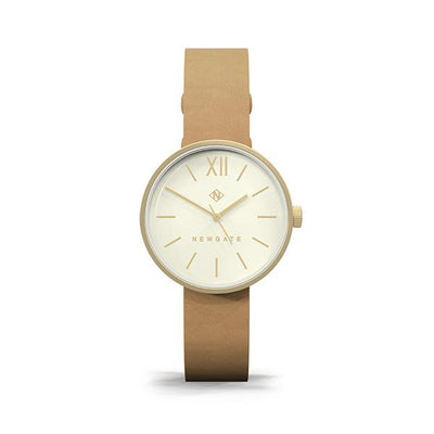 Women's Tan Leather Watch - Minimalist Contemporary Gold - Modern British Design - Newgate Atom WWSATMRG055LT (front)