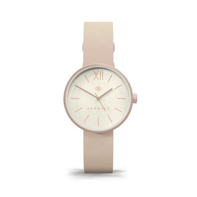 Women's Rose Gold Watch - Nude Pink Leather - Minimalist Contemporary - Newgate Atom WWSATMRR054PK (front)