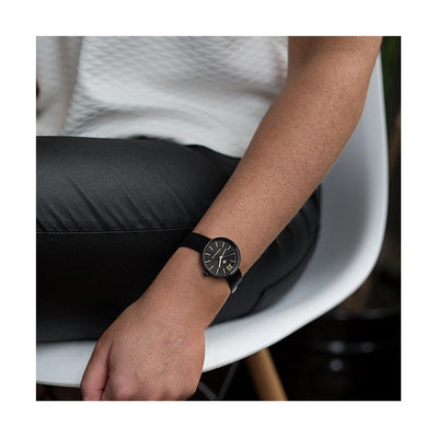 Women's Black Leather Watch - Minimalist Contemporary Gold - Modern British Design - Newgate Atom WWSATMRK056LK (wristwear)