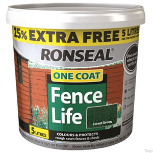 Ronseal One Coat Fence Life 4 Litre + 1 Litre Free
