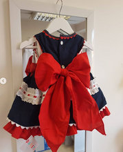 Load image into Gallery viewer, Navy and Red frilly dress